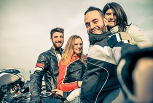 motorcycle date 1 300x201 Group of bikers taking selfie
